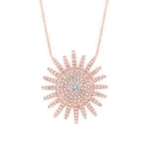 Diamond Sunburst Necklace in 14k Gold (All Colors)