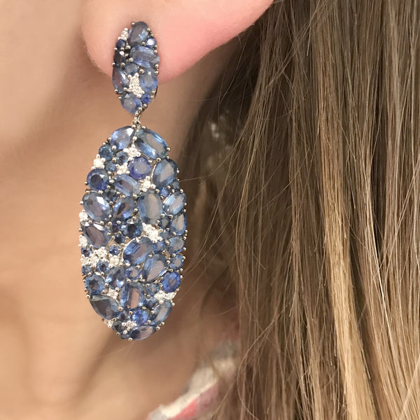 18K WHITE GOLD BLUE SAPPHIRE MONICA EARRINGS