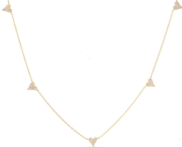 14K GOLD DIAMOND WILLOW HEART NECKLACE