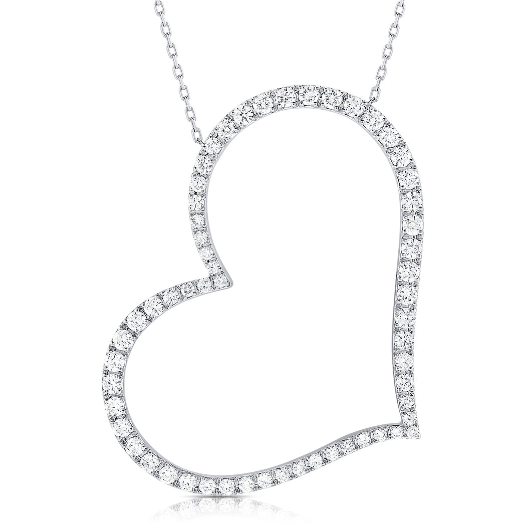 14K GOLD DIAMOND LIV HEART NECKLACE