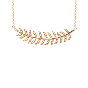 14K GOLD DIAMOND LEAF NECKLACE (ALL COLORS)