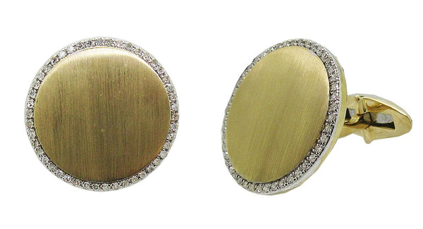 Diamond Engravable Circle Cufflinks in 14k Yellow Gold