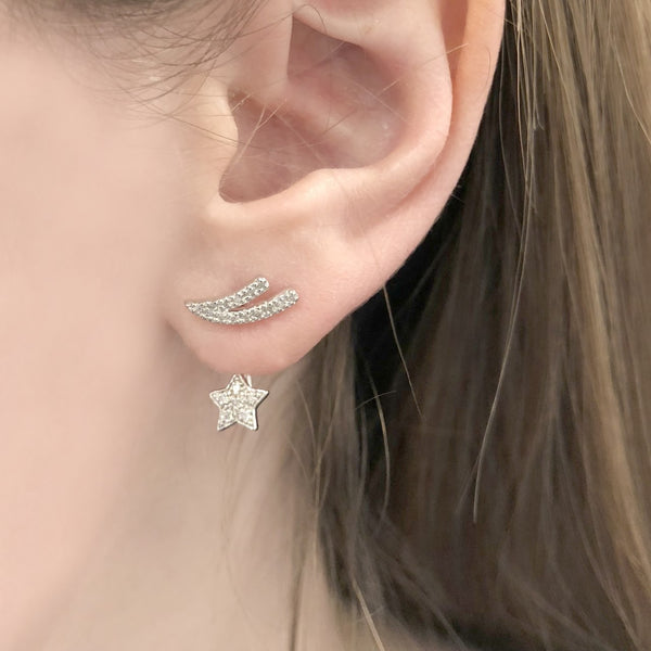 Diamond Shooting Star Over Under Earrings in Sterling Silver