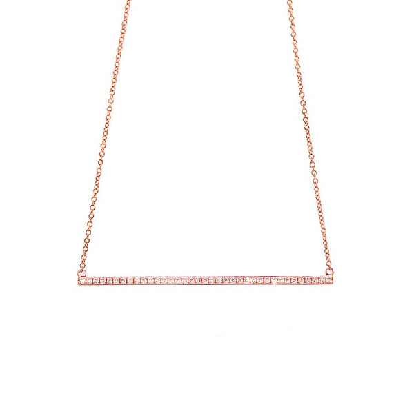 14K GOLD DIAMOND BINNY BAR NECKLACE (ALL COLORS)