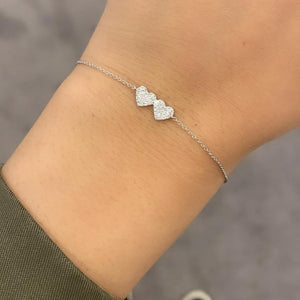 14K GOLD DIAMOND DOUBLE HEART MARCIA BRACELET