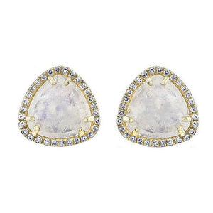 14K GOLD DIAMOND MOONSTONE STUDS
