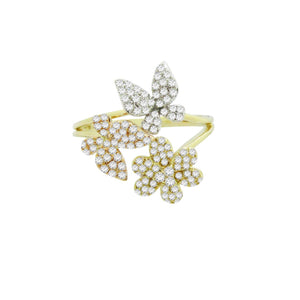 14K TRICOLOR GOLD DIAMOND BETTY RING
