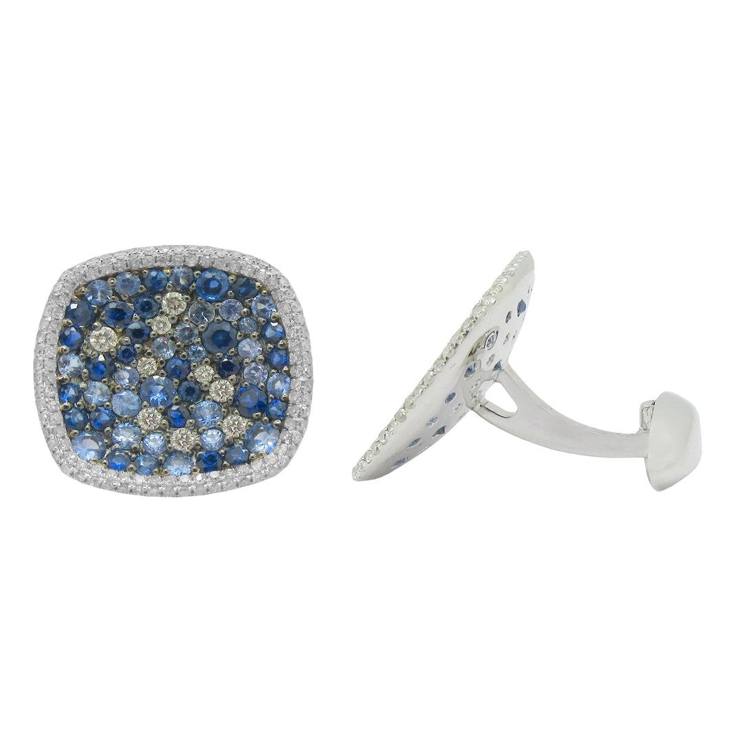 14K WHITE GOLD DIAMOND BLUE SAPPHIRE JACOB CUFFLINKS