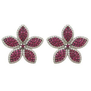 18K GOLD DIAMOND AND RUBY GALI EARRINGS