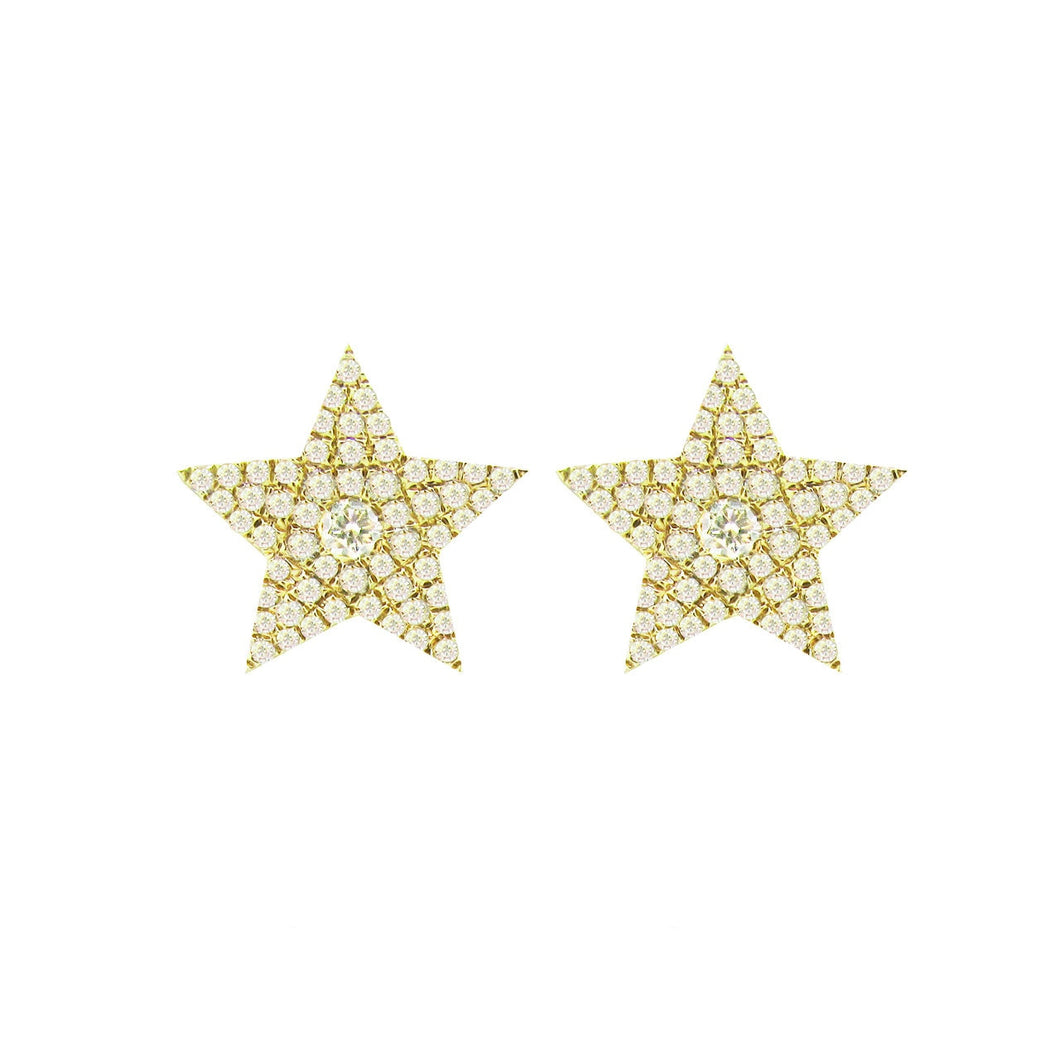14K YELLOW GOLD DIAMOND NIKKI STAR STUDS