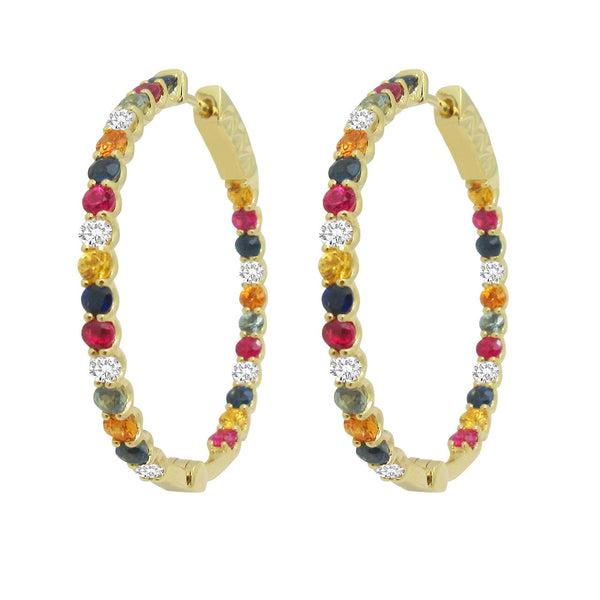 18K GOLD DIAMOND LIV HOOPS