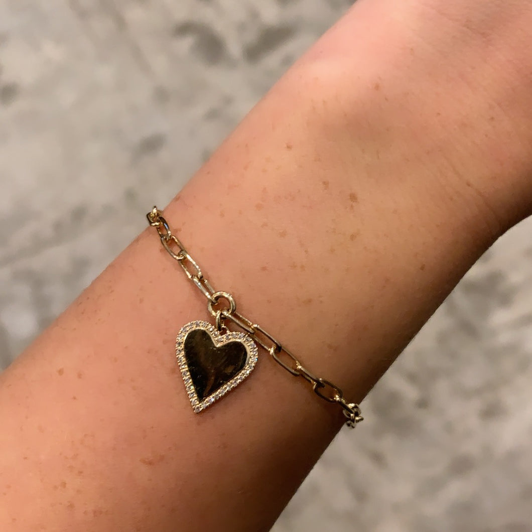 14K GOLD DIAMOND HAILEY HEART PAPER CLIP BRACELET