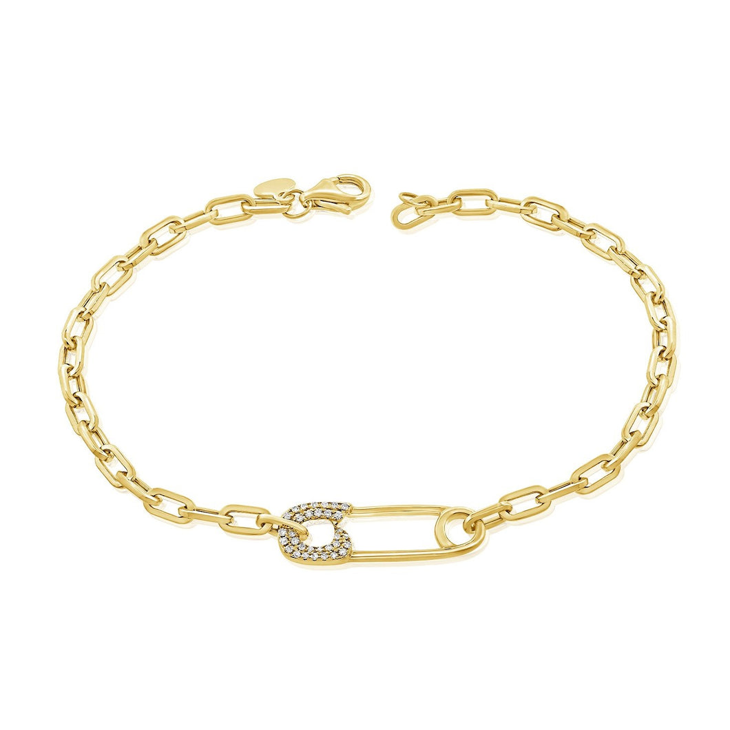 14K GOLD DIAMOND ELISE SAFETY PIN BRACELET