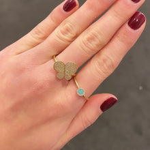 14K GOLD DIAMOND LIELLE TURQUOISE CIRCLE RING