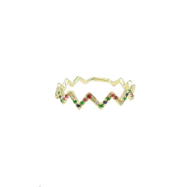 14K YELLOW GOLD RAINBOW ZIGZAG RING