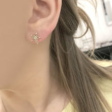 Diamond Zena Star Studs in 14k Rose Gold