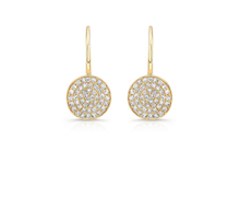 14K GOLD DIAMOND CIRCLE LEVERBACK EARRINGS