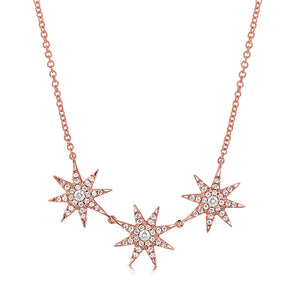 14K GOLD DIAMOND JASMINE STARBURST NECKLACE