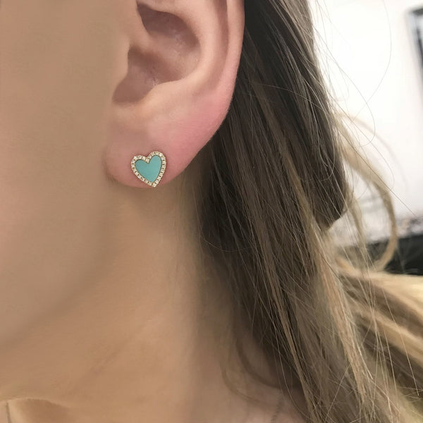 14K YELLOW GOLD DIAMOND  TURQUOISE HEART STUDS
