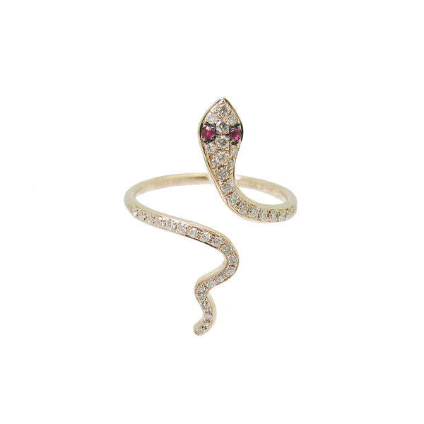 Diamond and Ruby Crawling Snake Ring in 14k Rose Gold