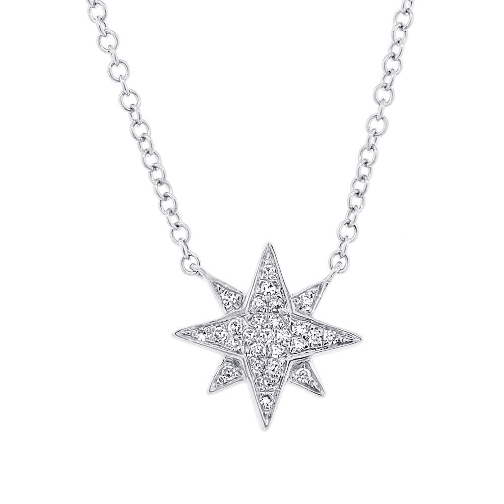 14K GOLD DIAMOND STARBURST NECKLACE (ALL COLORS)