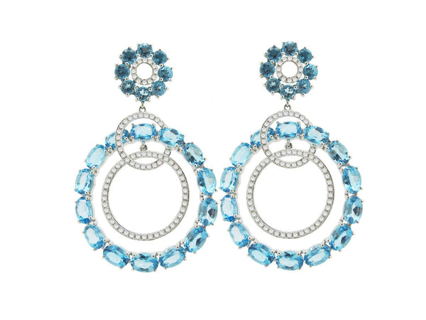 18K WHITE GOLD BLUE TOPAZ MARIA EARRINGS