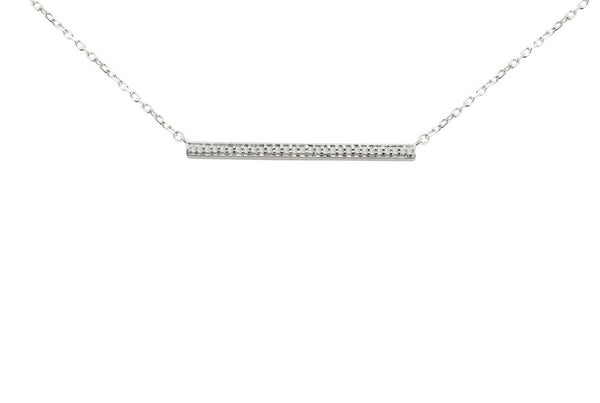Diamond Bar Necklace in Sterling Silver