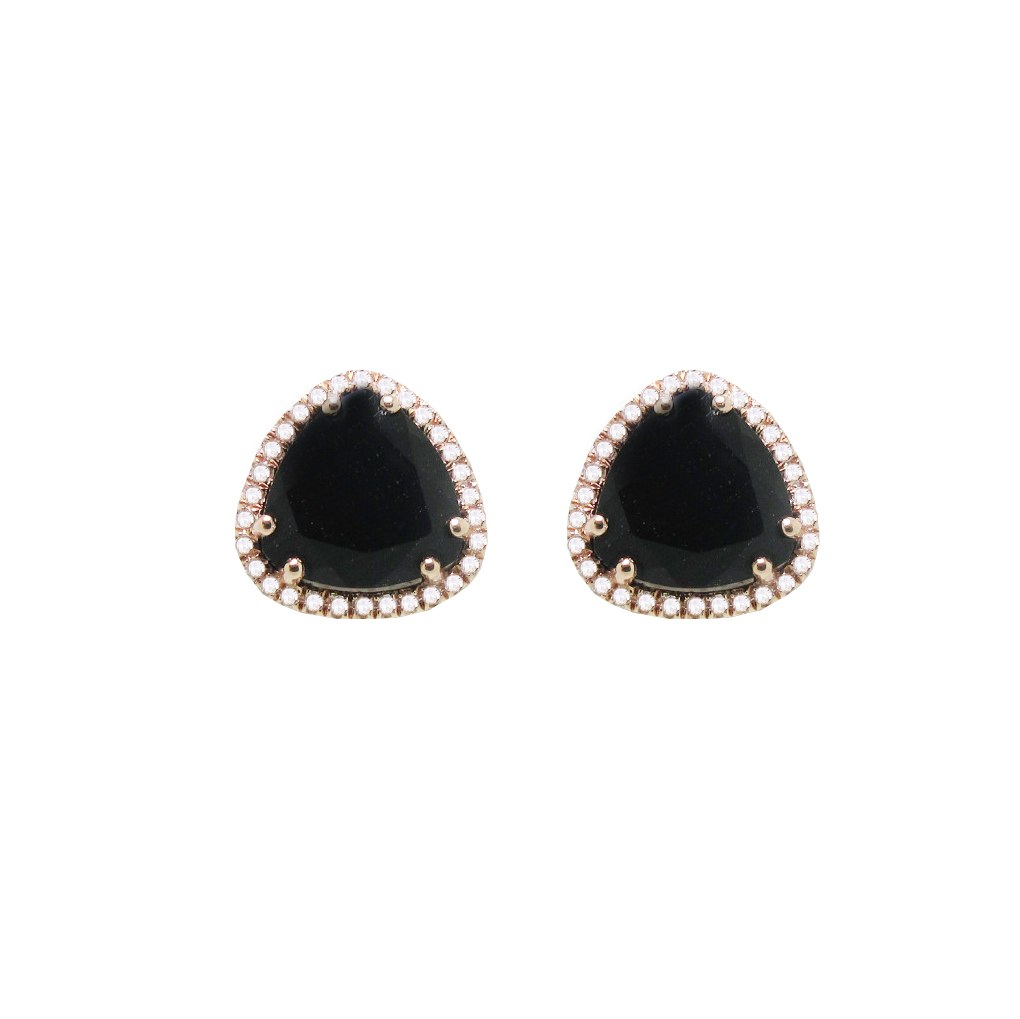 Diamond and Onyx Soft Edge Triangle Studs in 14k Rose Gold