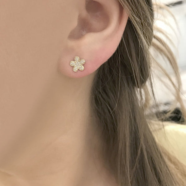 14K GOLD DIAMOND MINI FLOWER STUDS (ALL COLORS)