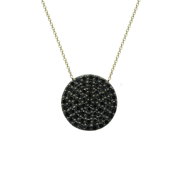 14K YELLOW GOLD BLACK DIAMOND DISC NECKLACE