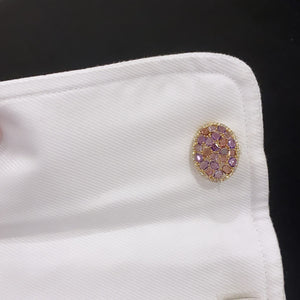14K GOLD DIAMOND AMETHYST AND PINK TOURMALINE CUFFLINKS
