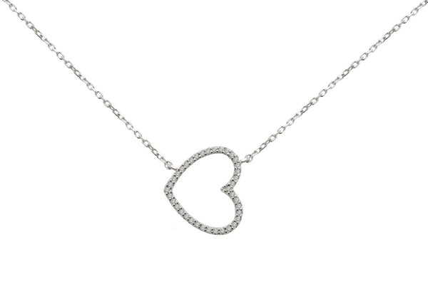 Sideways Heart Diamond Necklace in Sterling Silver