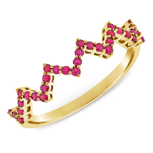 14K GOLD RUBY NICKY ZIGZAG RING