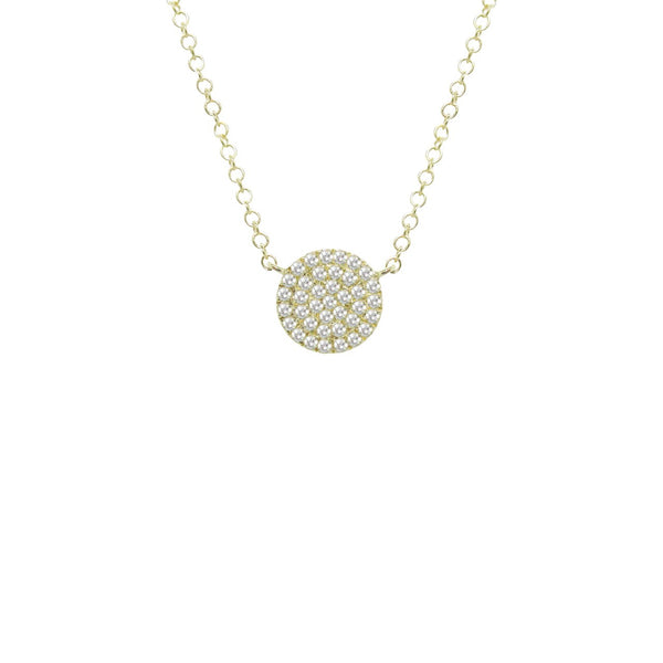 Small Pave Diamond Disc Necklace in 14k Gold