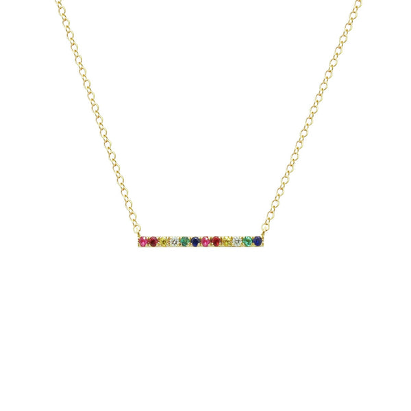 14K GOLD LENNON RAINBOW BAR NECKLACE