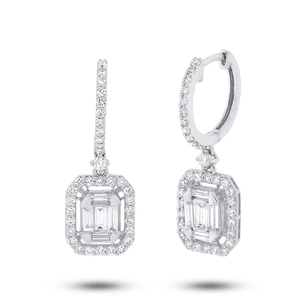 Diamond Baguette Hanging Earrings in 18k White Gold