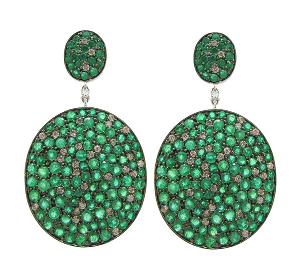 18KT WHITE GOLD LIELLE DIAMOND AND EMERALD EARRINGS