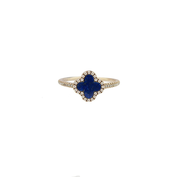 Diamond and Lapis Clover Ring in 14k Rose Gold