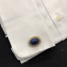 14K YELLOW GOLD DIAMOND SODALITE RYAN CUFFLINKS