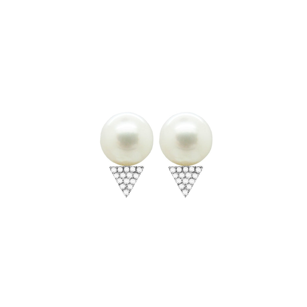 14K GOLD DIAMOND PEARL SAMMI STUDS (ALL COLORS)