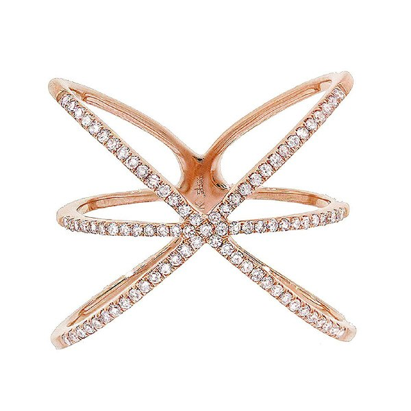 14K GOLD DIAMOND CRISSCROSS RING (ALL COLORS)