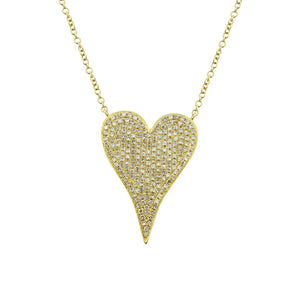 14K GOLD DIAMOND MEDIUM JANINE HEART NECKLACE (ALL COLORS)