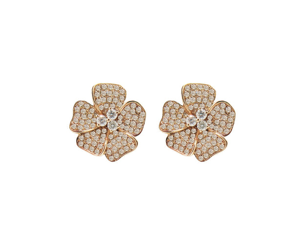14K GOLD DIAMOND MEDIUM JENNY FLOWER STUDS (ALL COLORS)