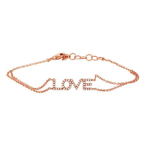 14K GOLD DIAMOND LOVE BRACELET (ALL COLORS)