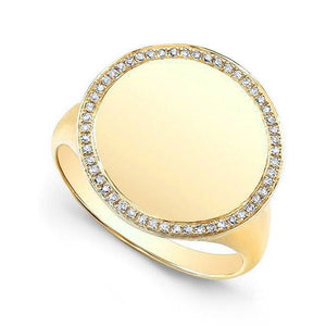 14K GOLD DIAMOND SIGNET RING (ALL COLORS)