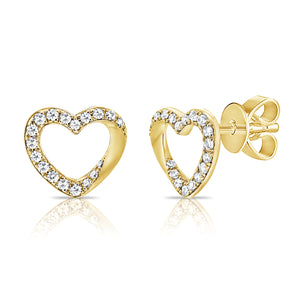 14K GOLD DIAMOND HANNAH HEART STUDS