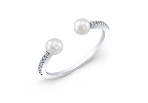 14K WHITE GOLD DIAMOND PEARL BRIDGETTE RING