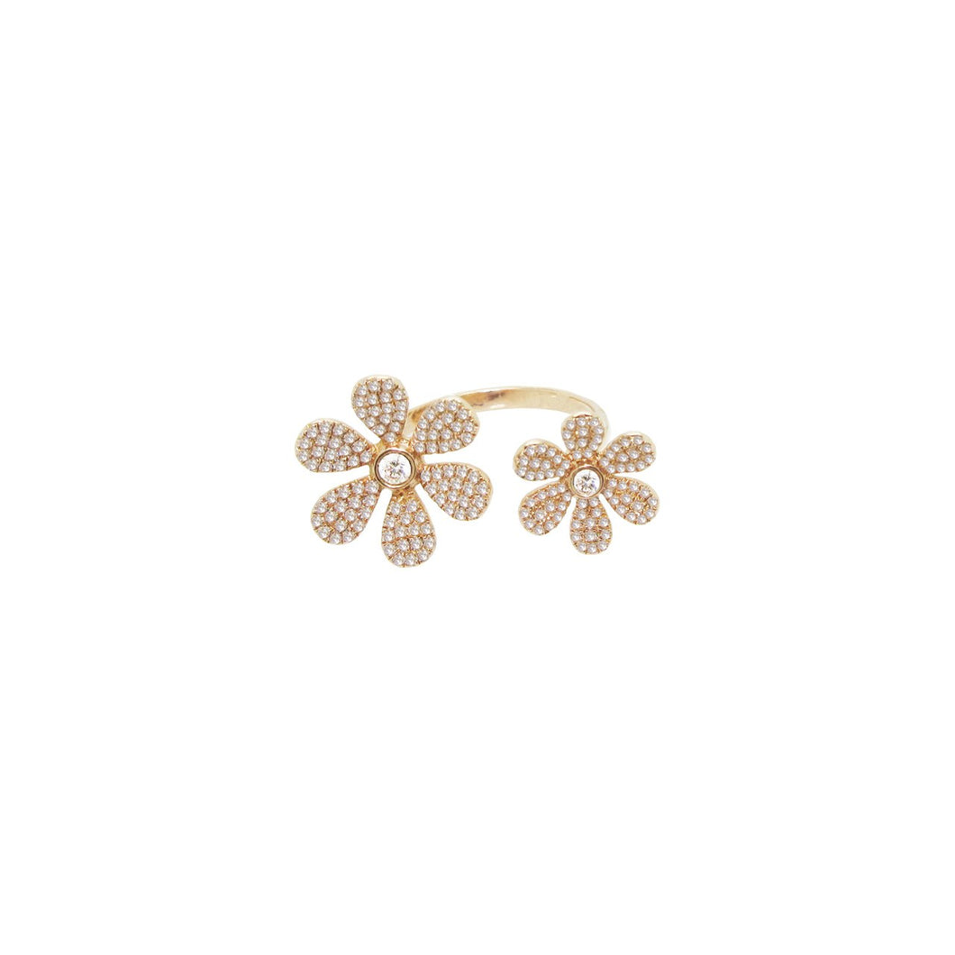 14K GOLD DAINA DIAMOND DOUBLE FLOWER RING