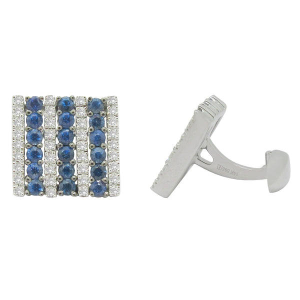 14K WHITE GOLD DIAMOND BLUE SAPPHIRE CUFFLINKS