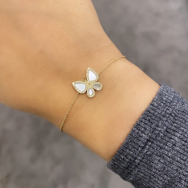 14K GOLD DIAMOND AND MOTHER OF PEARL HEIDI BUTTERFLY BRACELET